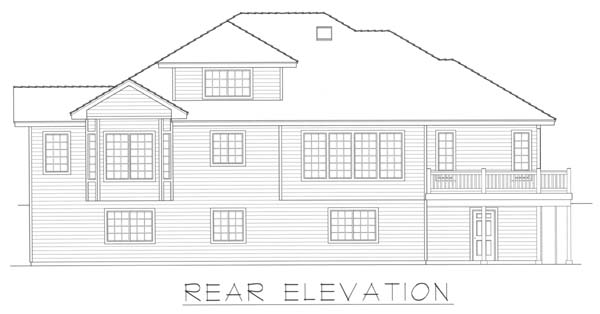 Contemporary House Plan 63545 with 3 Beds, 3 Baths, 2 Car Garage Rear Elevation