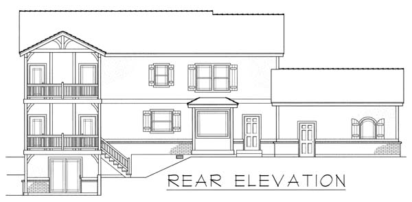 House Plan 63549 | Tudor Style Plan with 3015 Sq Ft, 3 Bedrooms, 3 Bathrooms, 2 Car Garage Rear Elevation