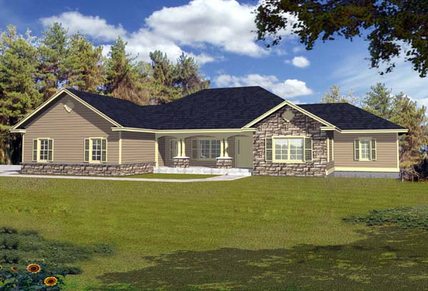 Contemporary Ranch House Plan 63551 Elevation