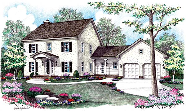 House Plan 64400 | Farmhouse Style Plan with 2474 Sq Ft, 4 Bedrooms, 3 Bathrooms, 2 Car Garage Elevation