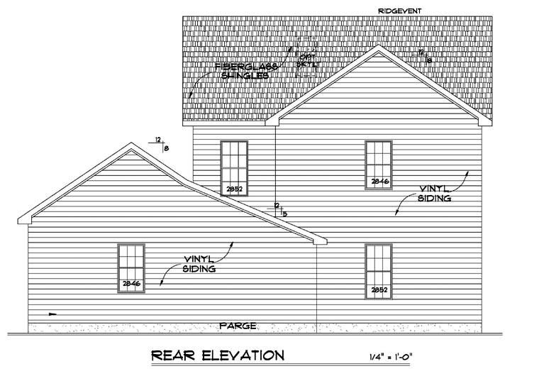 Farmhouse House Plan 64406 Rear Elevation