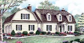 House Plan 64408 | Colonial European Style Plan with 2798 Sq Ft, 4 Bedrooms, 3 Bathrooms, 2 Car Garage Elevation