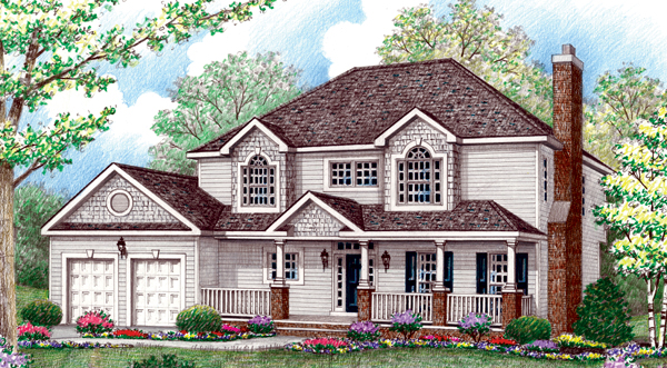House Plan 64410 | Farmhouse Style Plan with 2423 Sq Ft, 4 Bedrooms, 3 Bathrooms, 2 Car Garage Elevation