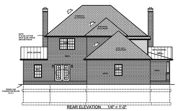 Contemporary Farmhouse House Plan 64414 Rear Elevation
