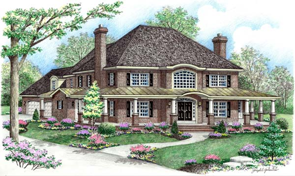 House Plan 64415 | Contemporary Farmhouse Style Plan with 2698 Sq Ft, 4 Bedrooms, 3 Bathrooms, 2 Car Garage Elevation