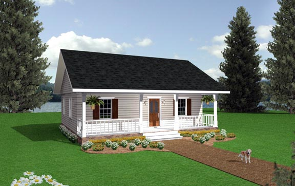 Cabin, Country House Plan 64505 with 2 Beds, 1 Baths Elevation