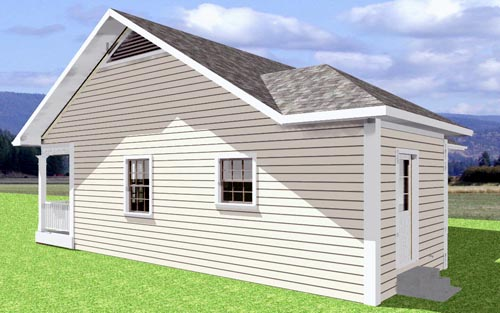 Cabin, Country House Plan 64505 with 2 Beds, 1 Baths Rear Elevation