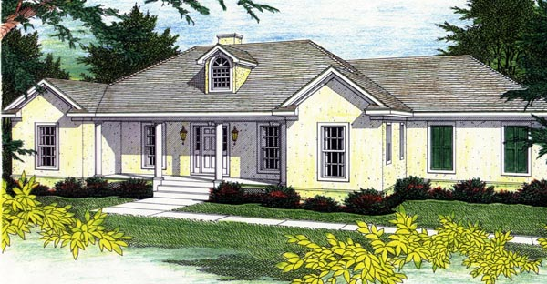 Mediterranean, One-Story House Plan 64507 with 3 Beds, 3 Baths, 2 Car Garage Front Elevation