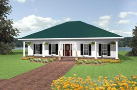 House Plan 64512 | Southern Style Plan with 2052 Sq Ft, 3 Bedrooms, 2 Bathrooms, 2 Car Garage Elevation