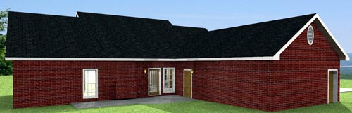 Cabin Country Ranch House Plan 64515 Rear Elevation
