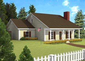 Ranch House Plan 64517 with 3 Beds, 1 Baths Elevation
