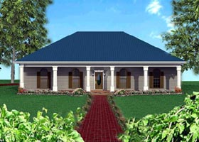 House Plan 64518 | European Style Plan with 1856 Sq Ft, 4 Bedrooms, 3 Bathrooms, 2 Car Garage Elevation