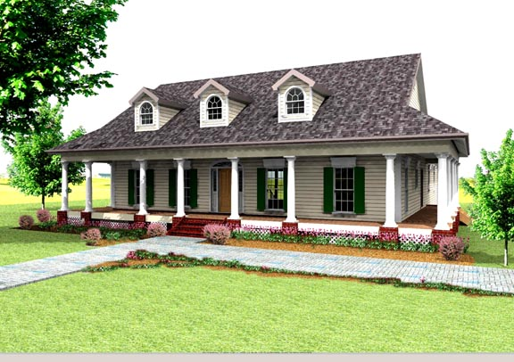 Bungalow, Country, Southern House Plan 64519 with 3 Beds, 3 Baths Elevation