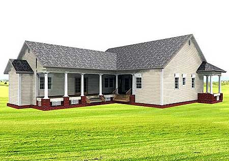 Bungalow, Country, Southern House Plan 64519 with 3 Beds , 3 Baths Rear Elevation