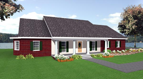 One-Story, Ranch House Plan 64520 with 4 Beds, 3 Baths, 3 Car Garage Elevation