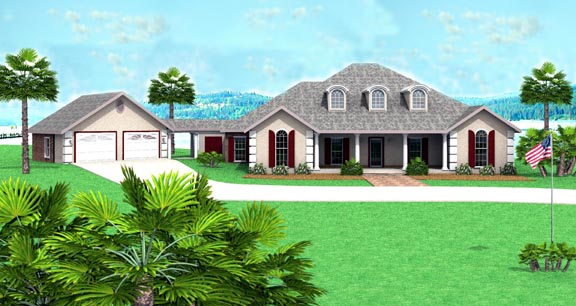 Mediterranean One-Story Elevation of Plan 64522