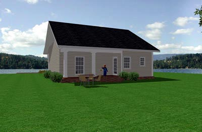 Colonial , Country , European , One-Story , Rear Elevation of Plan 64528
