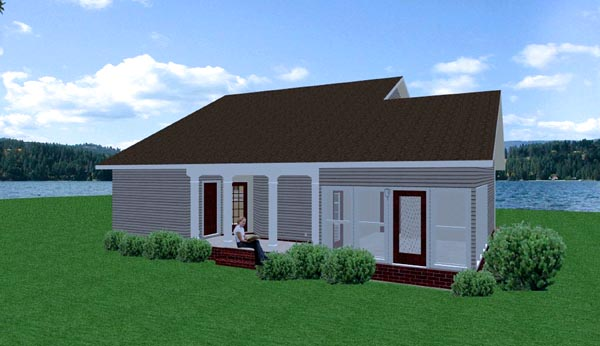 Colonial Ranch House Plan 64530 Rear Elevation