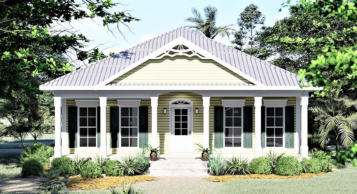 Colonial, One-Story, Southern House Plan 64531 with 3 Beds, 2 Baths Elevation
