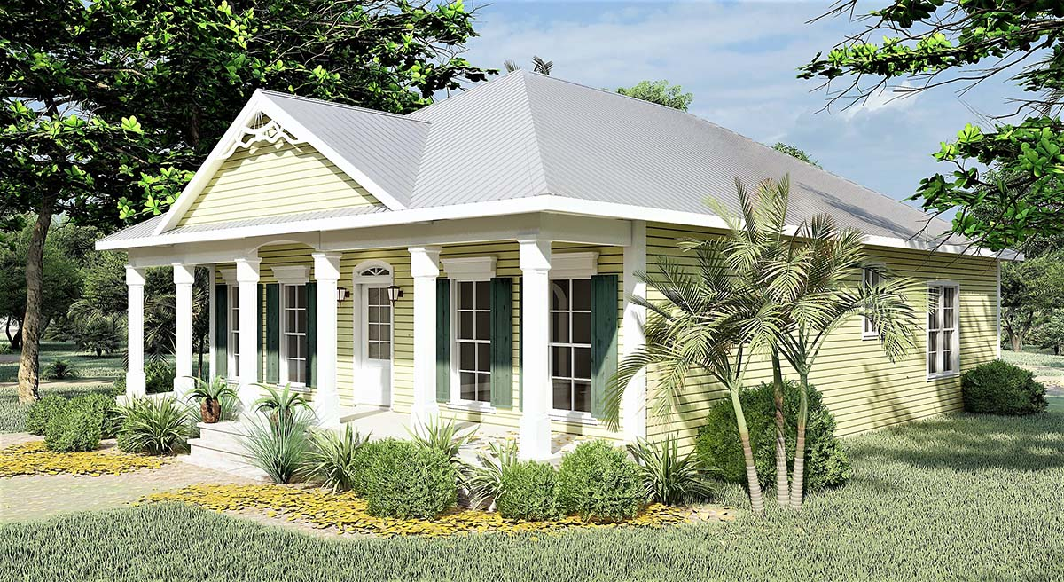 Colonial, One-Story, Southern House Plan 64531 with 3 Beds, 2 Baths Picture 1