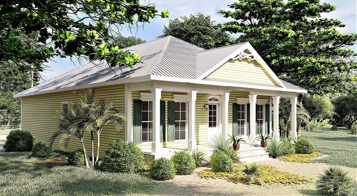 Colonial, One-Story, Southern House Plan 64531 with 3 Beds, 2 Baths Picture 2