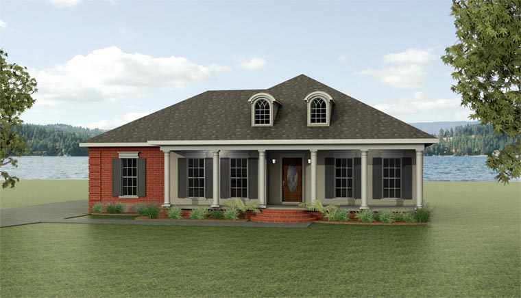 European House Plan 64532 with 3 Beds, 2 Baths, 2 Car Garage Elevation