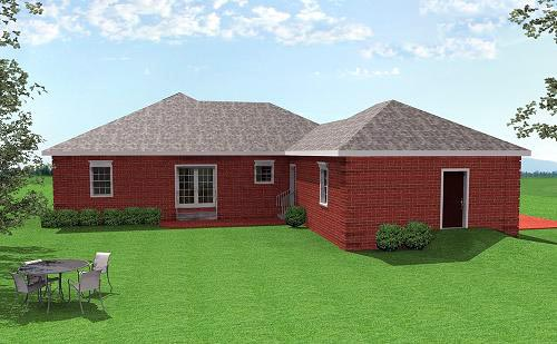European House Plan 64532 Rear Elevation