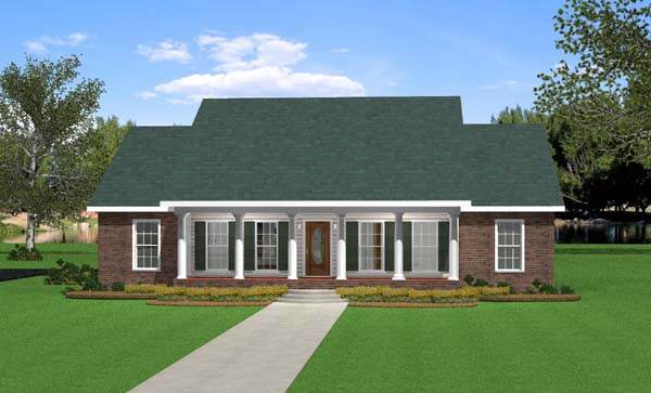 House Plan 64533 | Southern, Traditional Style House Plan with 2046 Sq Ft, 3 Bed, 3 Bath, 2 Car Garage Elevation