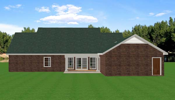 House Plan 64533 | Southern, Traditional Style House Plan with 2046 Sq Ft, 3 Bed, 3 Bath, 2 Car Garage Rear Elevation
