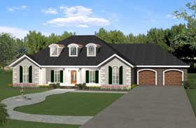 European , Traditional House Plan 64537 with 4 Beds, 3 Baths, 2 Car Garage Elevation