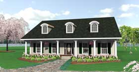 Country, One-Story House Plan 64540 with 3 Beds, 2 Baths, 2 Car Garage Elevation