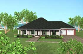 House Plan 64541 | European Style Plan with 2091 Sq Ft, 3 Bedrooms, 2 Bathrooms, 2 Car Garage Elevation