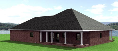 European, One-Story House Plan 64541 with 3 Beds , 2 Baths , 2 Car Garage Rear Elevation