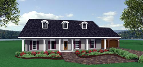 Country, One-Story House Plan 64543 with 3 Beds, 2 Baths, 2 Car Garage Picture 1