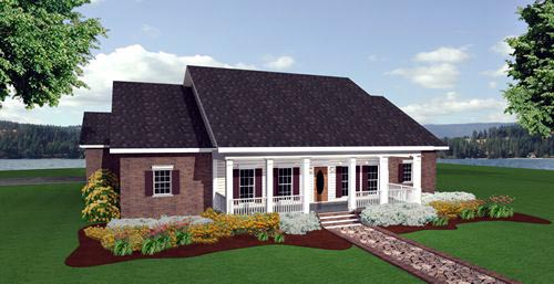 Colonial, Country, One-Story House Plan 64544 with 3 Beds, 2 Baths, 2 Car Garage Rear Elevation
