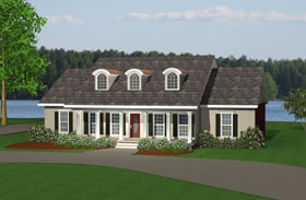 Country One-Story Elevation of Plan 64545