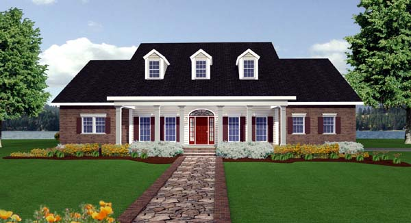 Colonial Country Southern House Plan 64547 Elevation