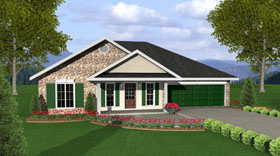 Traditional House Plan 64548 with 3 Beds, 2 Baths, 2 Car Garage Elevation