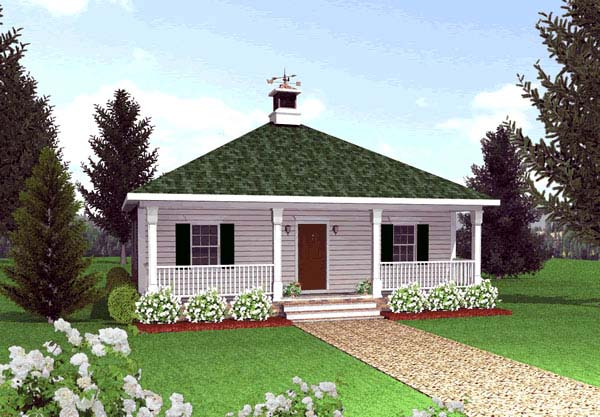 Cottage, Country, One-Story House Plan 64555 with 2 Beds, 1 Baths Elevation