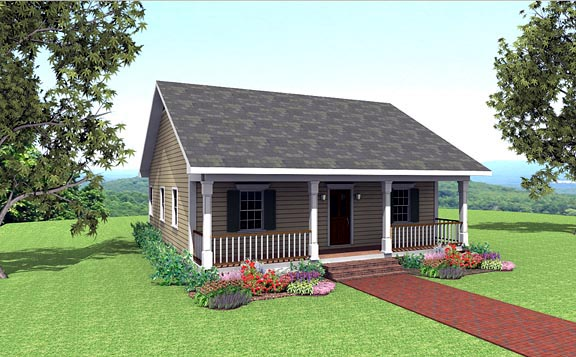 House Plan 64556 with 2 Beds, 1 Baths Elevation