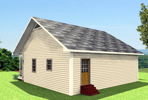House Plan 64556 with 2 Beds, 1 Baths Rear Elevation