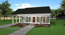 House Plan 64558 with 2 Beds, 2 Baths, 1 Car Garage Elevation