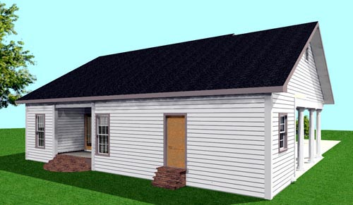 One-Story Rear Elevation of Plan 64558