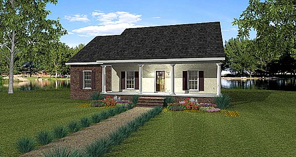 Country House Plan 64566 with 4 Beds, 2 Baths Elevation