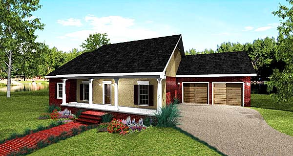 Country House Plan 64566 with 4 Beds, 2 Baths Picture 1