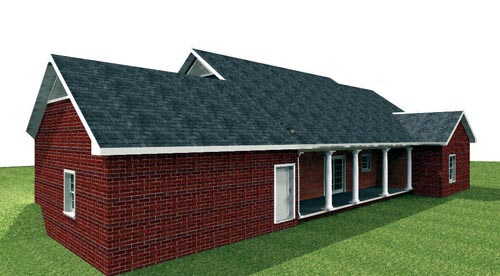 Country House Plan 64566 with 4 Beds, 2 Baths Rear Elevation
