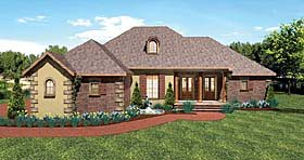 House Plan 64570 | European Traditional Style Plan with 2197 Sq Ft, 3 Bedrooms, 3 Bathrooms, 3 Car Garage Elevation