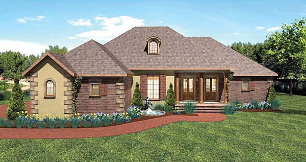 European, One-Story, Traditional House Plan 64570 with 3 Beds , 3 Baths , 3 Car Garage Elevation