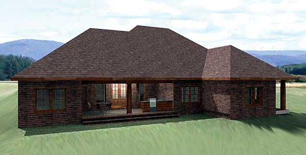 European, One-Story, Traditional House Plan 64570 with 3 Beds , 3 Baths , 3 Car Garage Rear Elevation