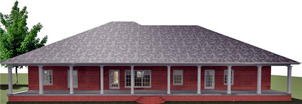 Country House Plan 64572 with 4 Beds, 3 Baths, 2 Car Garage Rear Elevation